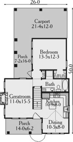 Ashfield House Plan 3522 - 1 Bedroom and 1 Bath | The House Designers little but good