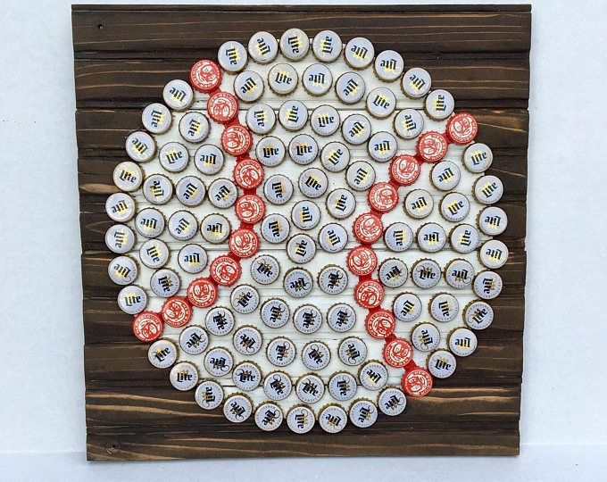 Crab Wall Art With Mixed Bottle Caps On Pallet Wood Cap