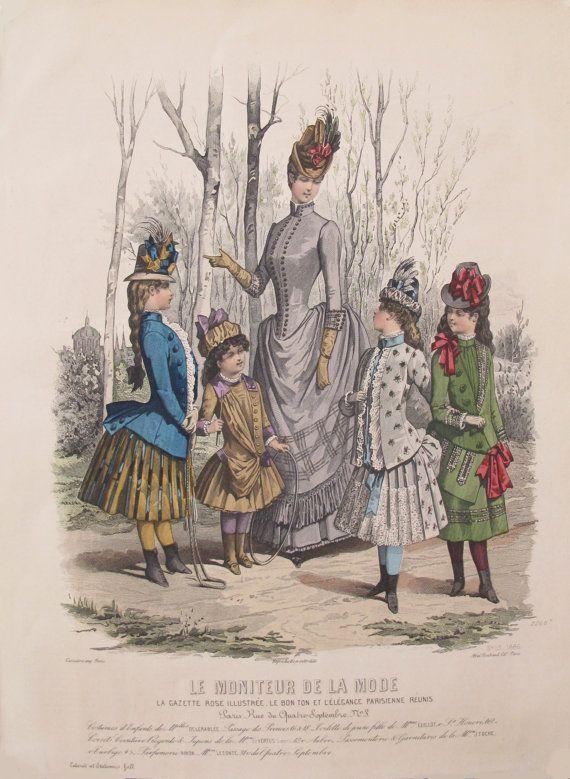 1885 Moniteur de la Mode Victorian Ladies by PosterRomance on Etsy