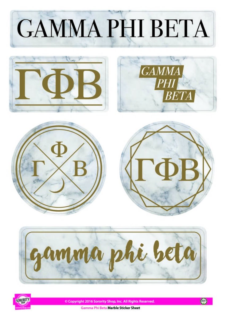 Gamma Phi Beta Sorority Stickers- Marble - Brothers and Sisters' Greek Store