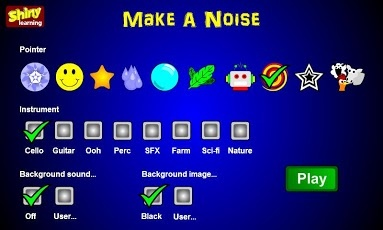 Make A Noise - Shiny Learning ($2.26) An open-ended, fun and stimulating cause and effect app for young learners and those with special needs. Tap the screen or drag across it to make a noise.