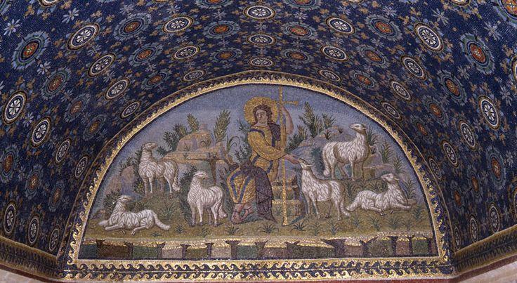 Mausoleum of Galla Placida - the Good Shepherd , Ravenna , Italy , first half of the V century. .#Mosaic