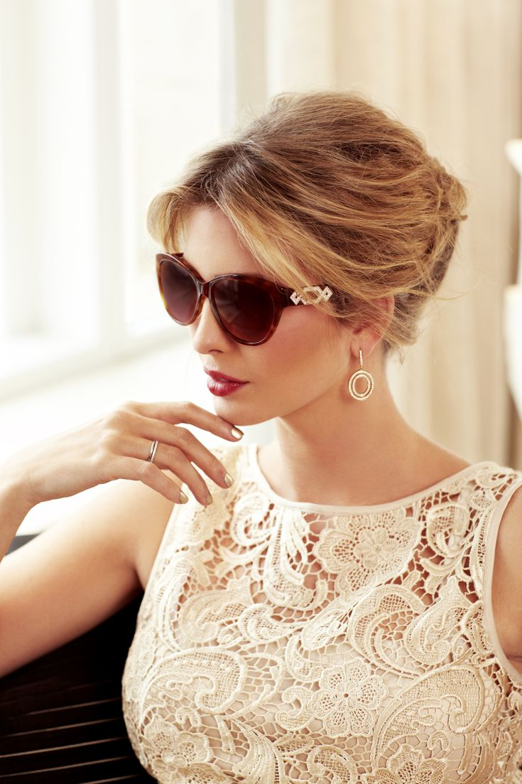 Fabulous makeup, sunglasses, French twist, and lacy top.  #sophisticated #feminine #fashion