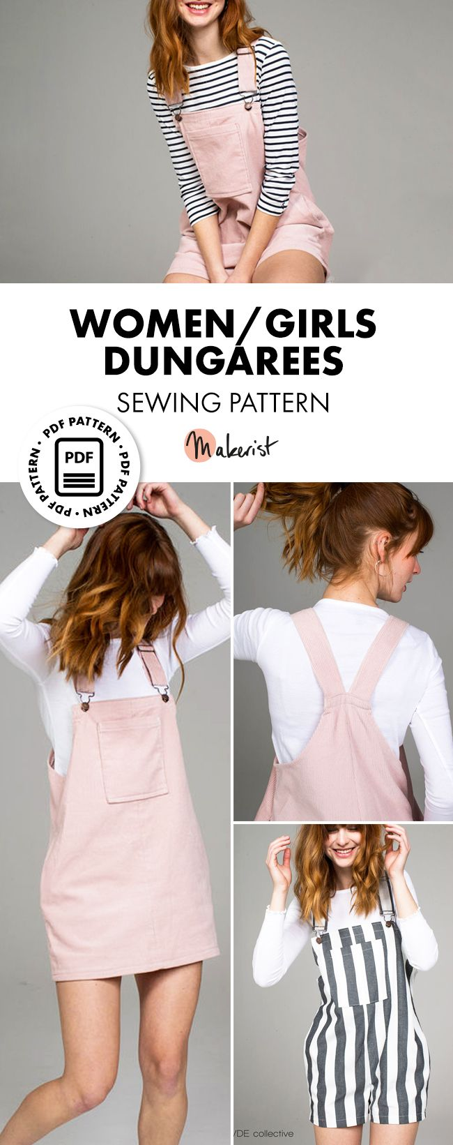 Women / Girls Dungarees & Dungaree dress sewing patterns UK 6-14