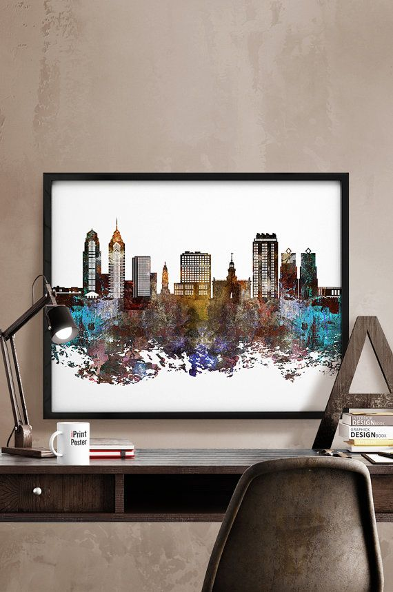 Philadelphia skyline abstract Philadelphia Art by iPrintPoster