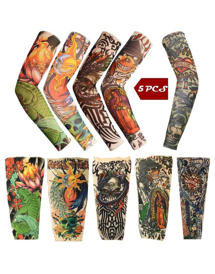 iToolai Temporary Tattoo Sleeves with Skulls, Lotus, Dragon, Rose, Hearts, Koi Fish (Pack of 5)