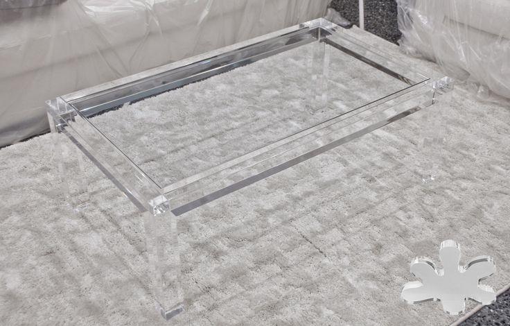 Acrylic interiors - Lucite Acrylic coffe table - TAVOLINI DA SALOTTO IN PLEXIGLASS | Tavolo trasparente in plexiglass 03. mod. MISSING   | Tavolino plexiglas cm.110 x 65 h.40 - telaio sp.mm.60 - gambe sez.mm.60 #lucite #design #home