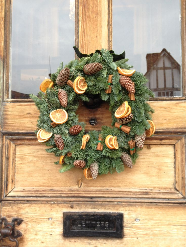 Traditional wreath made for a very special place in Lavenham.  You will have to search out the door and then you will know.