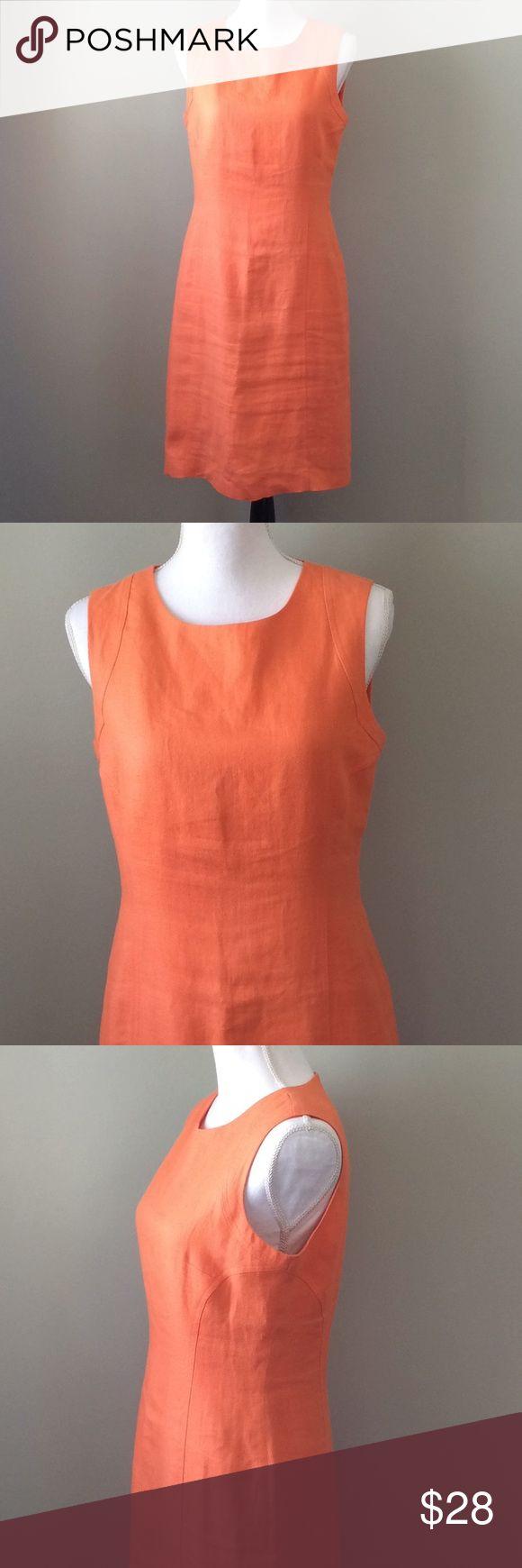 "Talbots Linen Sheath Dress Talbots Women's Sheath Dress Size 8 Sleeveless Irish Linen Lined Orange Chest-17"" Waist-19"" Length-39 Talbots Dresses Midi"