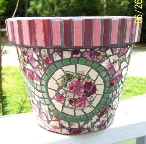 A Mosaic Flower Pot Using Broken China And Sources On Etsy For Colored Tiles