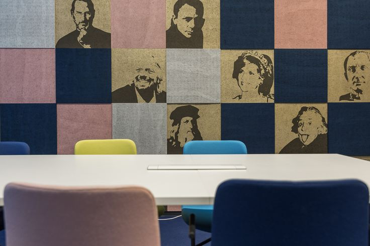 Rock My Business in Pori has amazing looking acoustic wall with printed celebrity portraits.