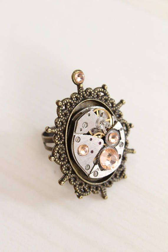 Adjustable steampunk mechanical watch ring with filigree edge, champagne colored glass cristal rhinestone, handmade