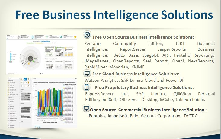 40 Open Source and Free Business Intelligence Solutions - http://www.predictiveanalyticstoday.com/open-source-free-business-intelligence-solutions/