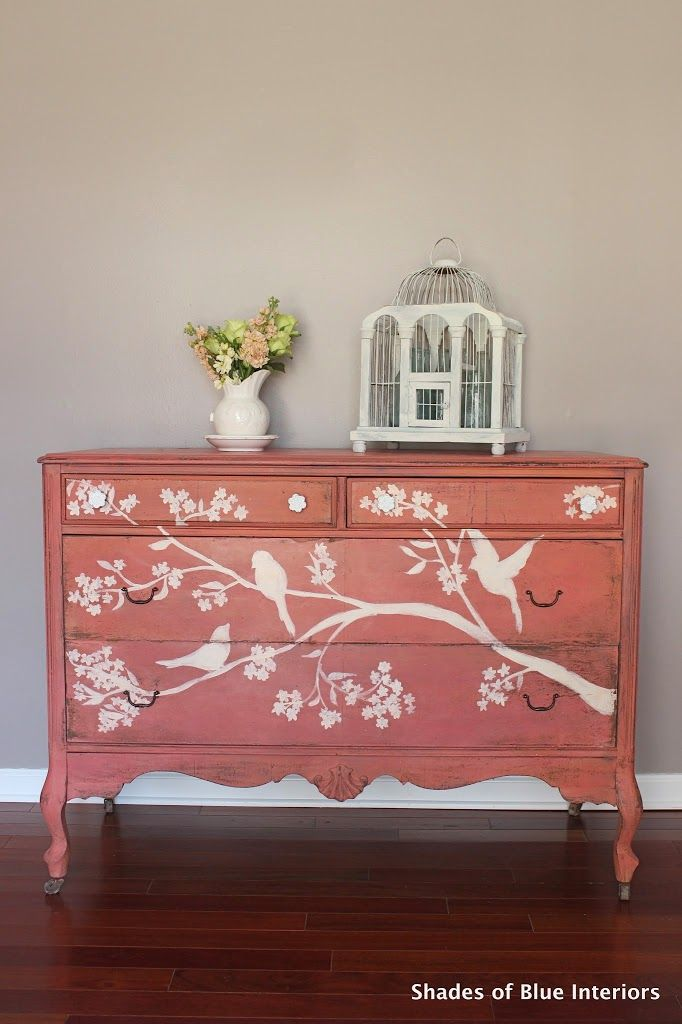 Wanna know what the perfect spring dresser looks like?!? TA DA!! I actually posted a quick pic on Instagram a week or so ago right after I finished the hand-painted front. This color, Apron Strings (Miss Mustard Seed Milk Paint) has some AWESOME color variation: from a raspberry color to coral to straight up orange. …