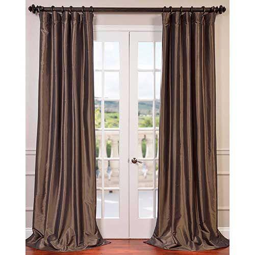Half Price Drapes PTCH-BO27-96 Mushroom Brown 96 x 50 in. Blackout Faux Silk Taffeta Curtain Single Panel Traditional | Bellacor