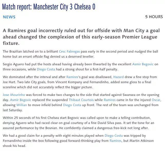 Chelsea's Official Website Has Interesting Take on Manchester City Loss...