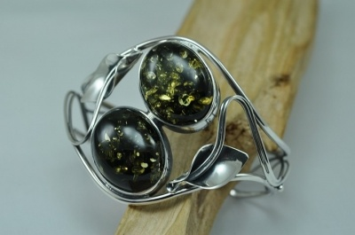 Double stone green amber bracelet - bangle.