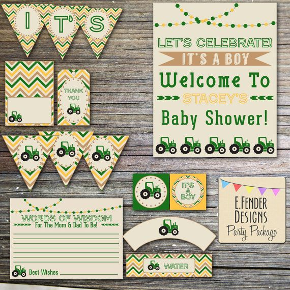 Modern Tractor Baby Shower Printable Party Package with Bunting & Chevron Designs  in Yellow and Green