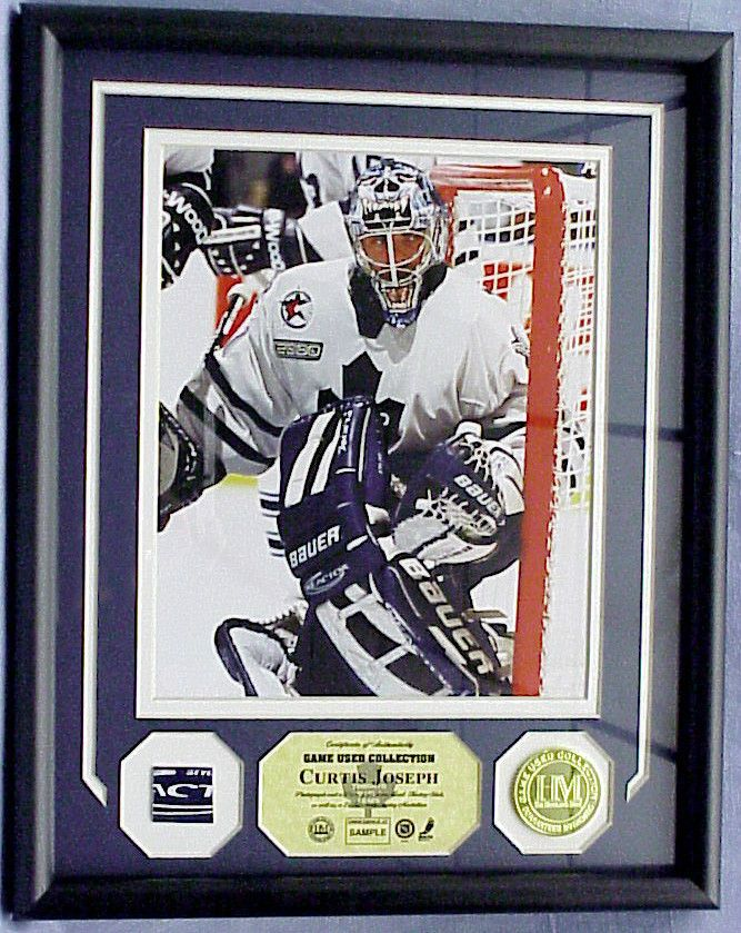 Curtis Joseph Game Used Stick Photomint 24kt Gold Overlay Medallion