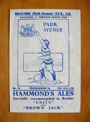 BRADFORD-PARK-AVENUE-v-PRESTON-NORTH-END-1945-1946-VG-Cond-Football-Programme
