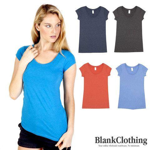 HERO | scoop neck marl tshirt | womens plain tees. Slim fit, vintage plain marl, scoop neck t-shirts for ladies. Buy online basic wear clothing