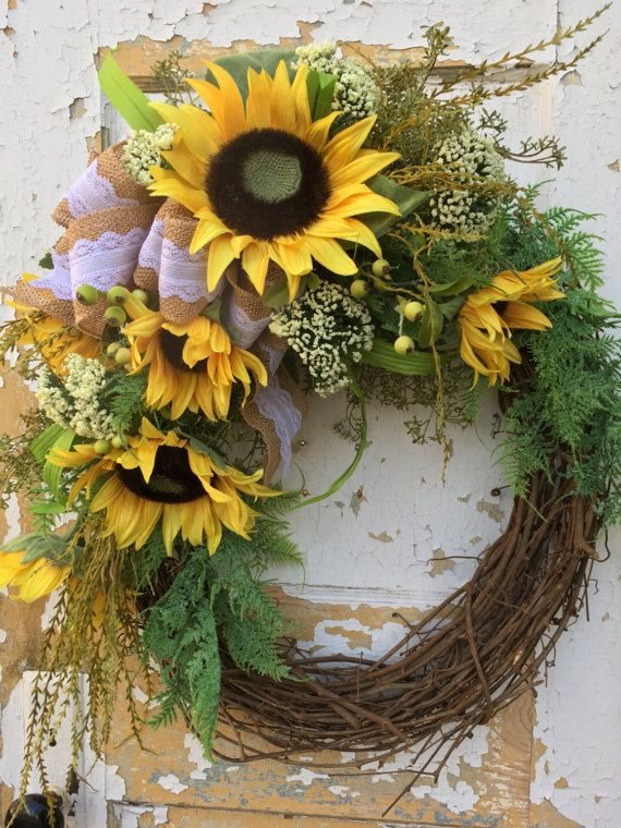 Summer Wreath For Front Door Sunflower Wreath Front Door