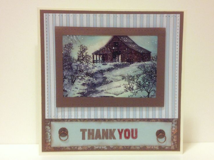 Thank you homemade card, stampscape scene stamps with clones to my heart paper and ink