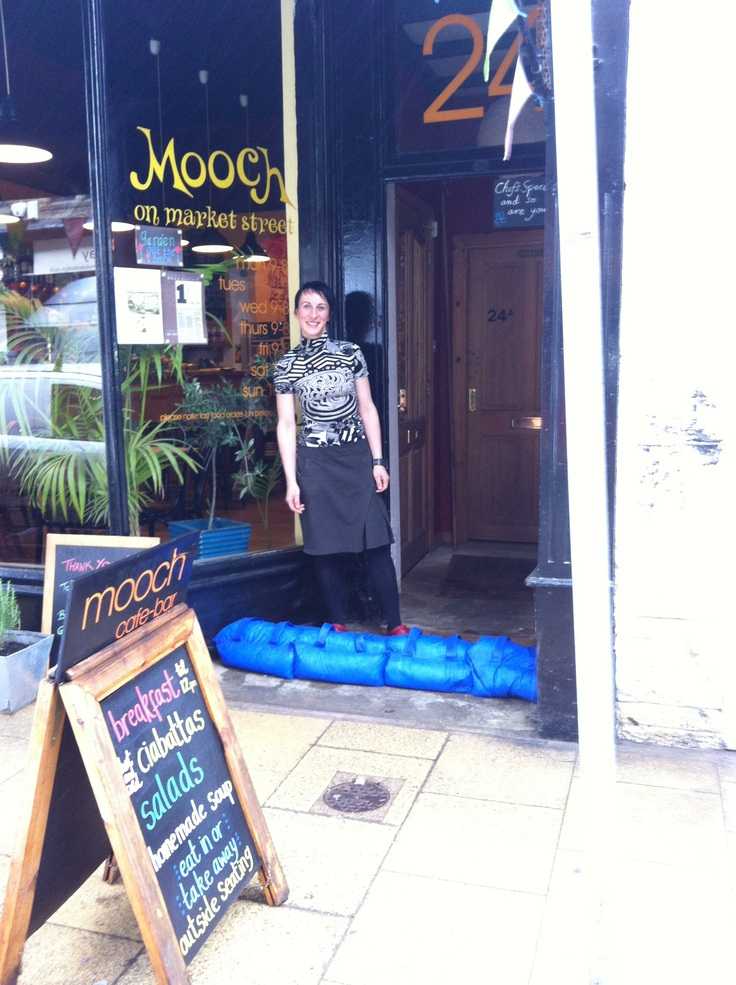 I love Sunday breakfasts at Mooch! Donated goods being used in Hebden Bridge before flooding- Summer 2012