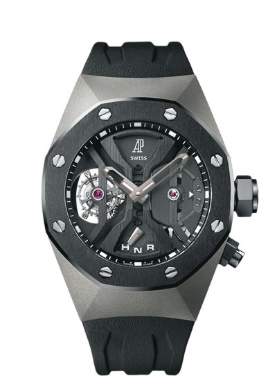 Audemars Piguet Royal Oak GMT Tourbillon Concept Hand-wound tourbillon watch with GMT function and selection indicator. Titanium case, openworked dial, black strap.