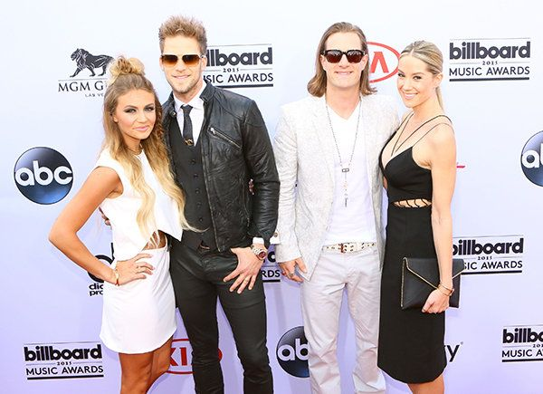 Brittney Kelley (left), Brian Kelley and Tyler Hubbard of Florida Georgia Line and Hayley Stommel arrive at the Billboard Music Awards on May 17, 2015, in Las Vegas.