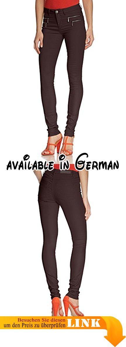 ONLY Damen Hose Olivia Coated Noos, Braun (Black Coffee), M/38. Diese ONLY-Jeans gehört in jeden Kleiderschrank. Sie ist ein Basic, welches sich zu fast allem kombinieren lässt. Egal, ob zu lässigen Jacken, eleganten Blazern oder dezenten Shirts, die Hose ist ein Hingucker, ohne sich in den Vordergrund zu drängen. Auf der Hüfte befinden sich vorne je zwei dekorative Reißverschlüsse pro Seite, welche die gleichmäßig gefärbte Hose optisch aufpeppen.. Die softe Röhre