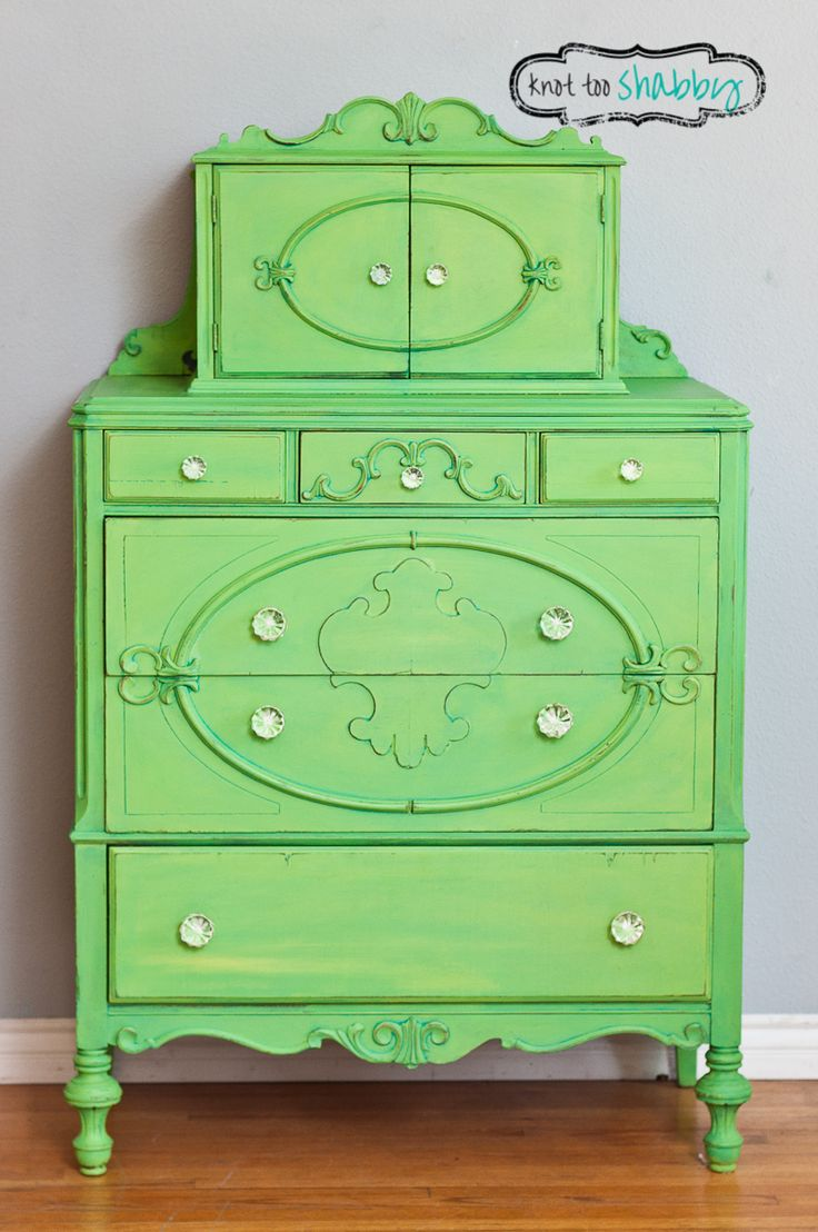 This Vintage Dresser Received A Sy Granny Smith Green Custom Color Of Antibes English