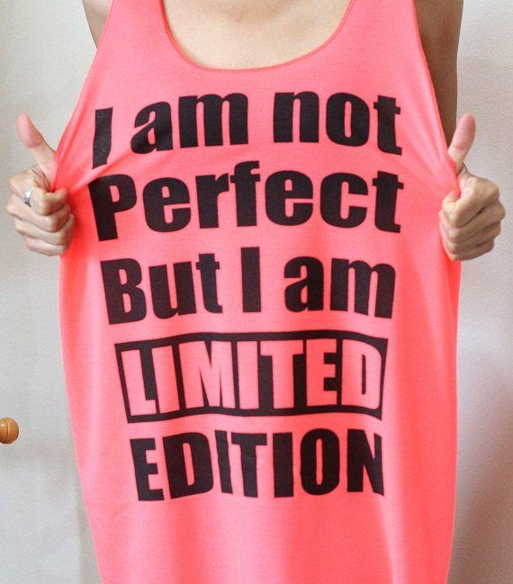Humor shirt I am Limited Edition punk rock tshirt neon pink tank top women t shirt tunic singlet size L on Etsy, $16.00