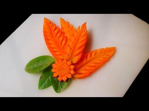 Simple Carrot Leaf Design (3 Beautiful Designs) - Fruit & Vegetable Carving - YouTube