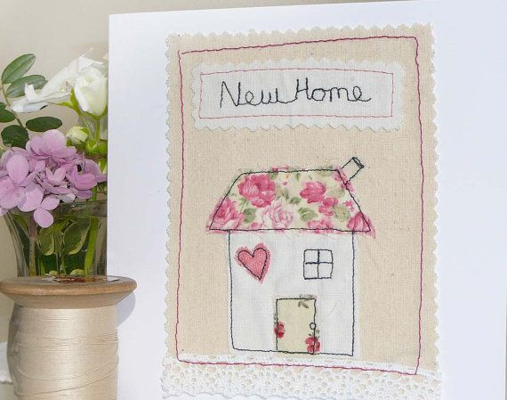 Handmade Card Freehand Machine Embroidery New by AvalonAndMisty