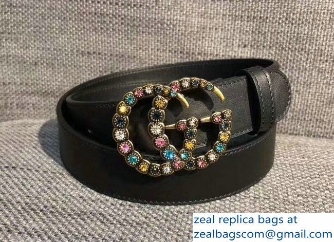 2f5e671e6 Gucci 3cm belt black with multicolor crystals buckle 2018_2803115305 ...
