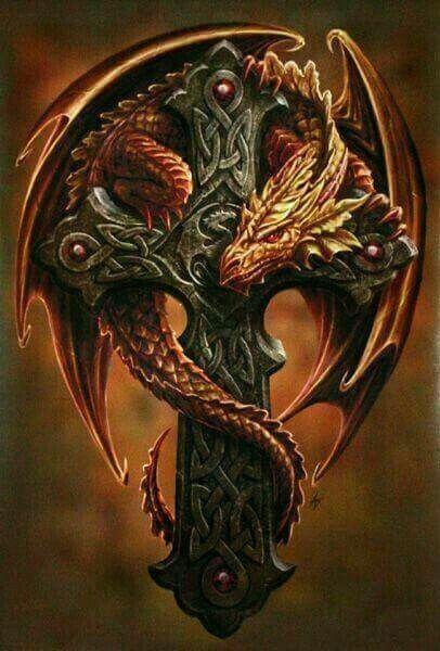 влюбленные преподносят картинка дракон на кресте круглешков