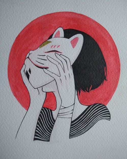 #kitsune #girl #mask #illustration #watercolor #japanese