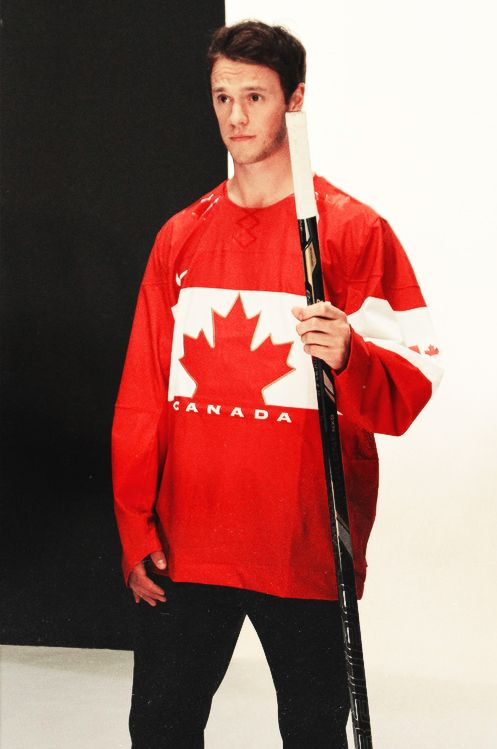 Jonathan Toews modeling the new Team Canada jersey.