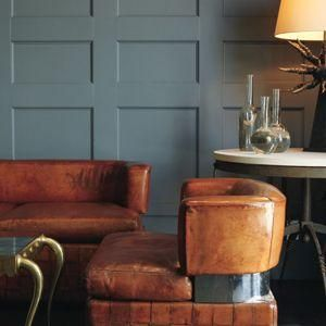 Love the slate blue and tan colour combo