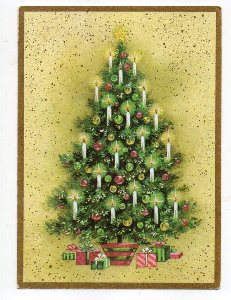 Vintage Christmas Greeting Card Candle Lit Christmas Tree | eBay