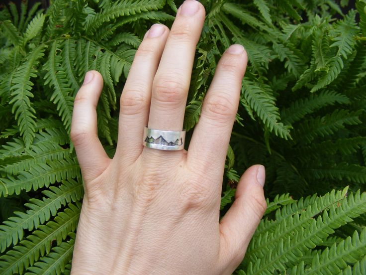 Size 8 Ready to Ship, Sterling Silver Mountain Ring, Mountain Range Band Ring…