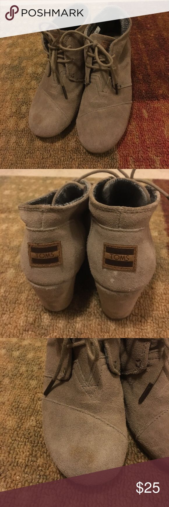 TOM's Desert Wedge booties! Size 6W Well loved but still in great condition TOM wedge booties in desert color. So comfortable and easy to style for fall! There are some scuff marks as shown in pictures. Open to offers Toms Shoes Ankle Boots & Booties