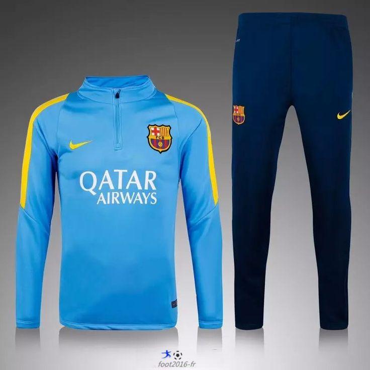 boutique officiel Nouveau Survetement de foot fc Barcelone Bleu 2015 2016 pas cheres