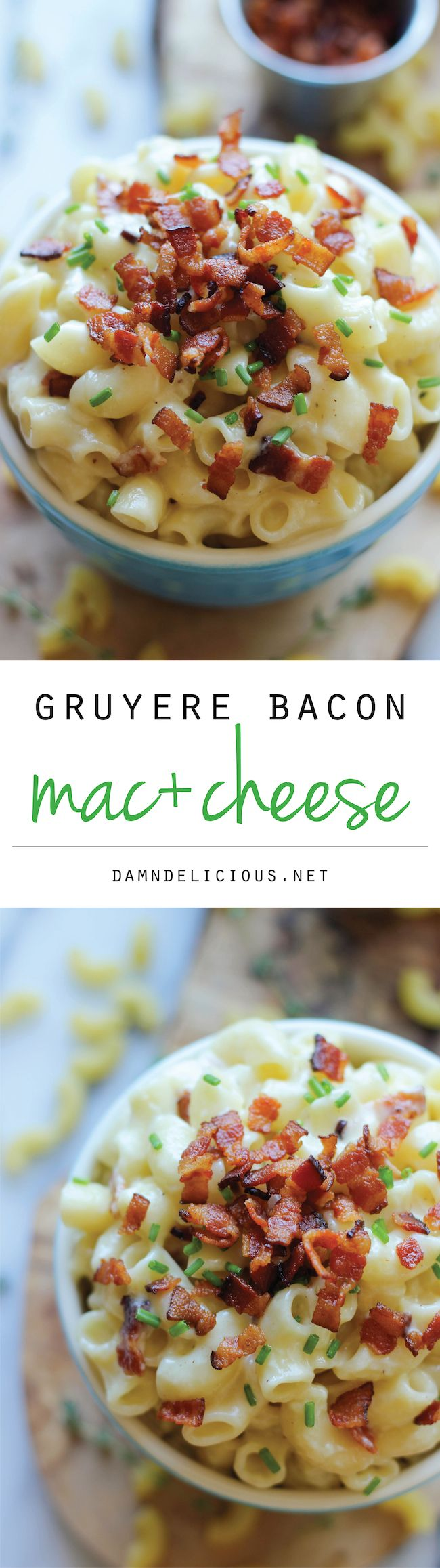 Gruyere Bacon Mac and Cheese This was good, just watch the garlic and I added too much cheese made it stick instead of creamy.