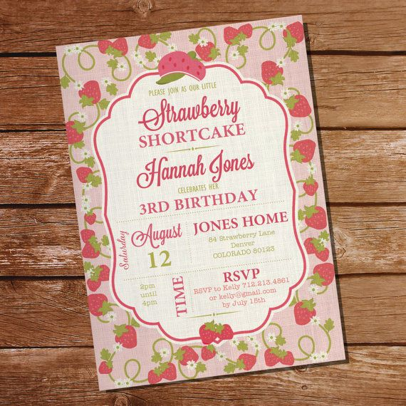 Strawberry Shortcake Party Invitation for a Girl - Instant Download - Editable File - Personalize at home with Adobe Reader