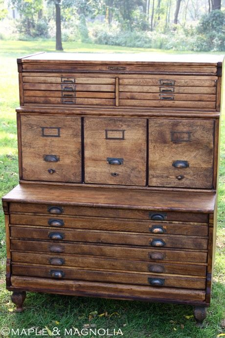 Antique Surveyoru0027s cabinet. bottom shelves are sized to hold an entire  unfolded map. middle file cabinets, top section for