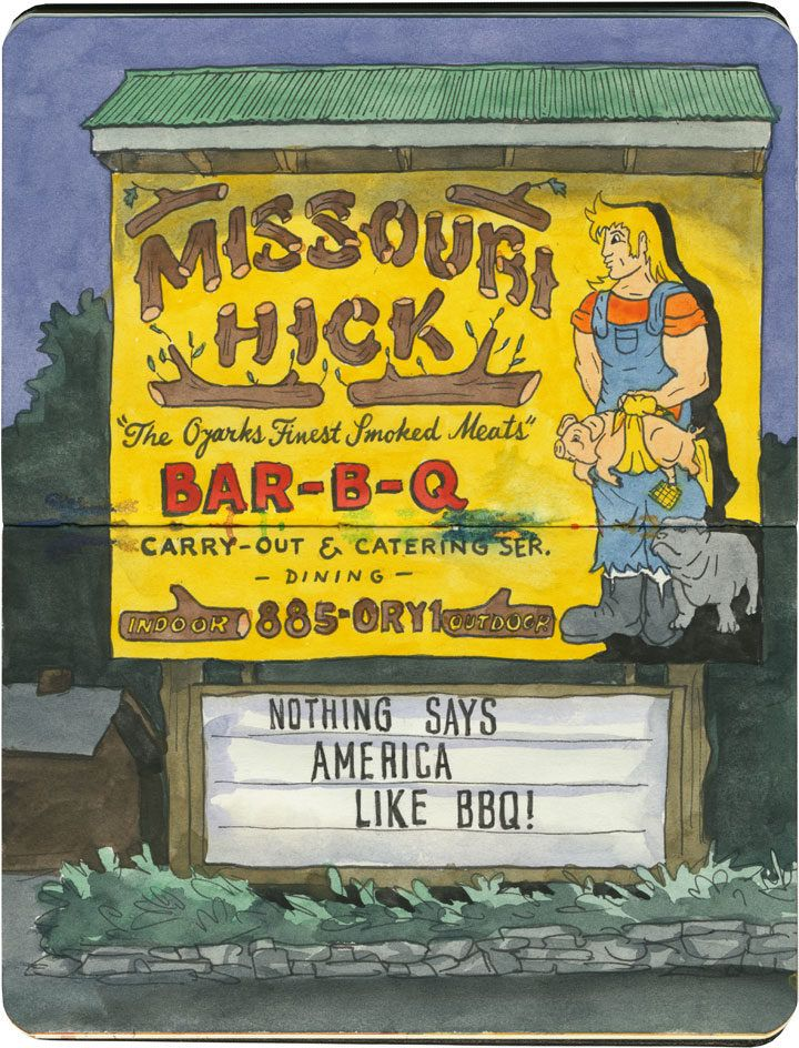 The Missouri Hick on Route 66, where both the BBQ and the signage are glorious.