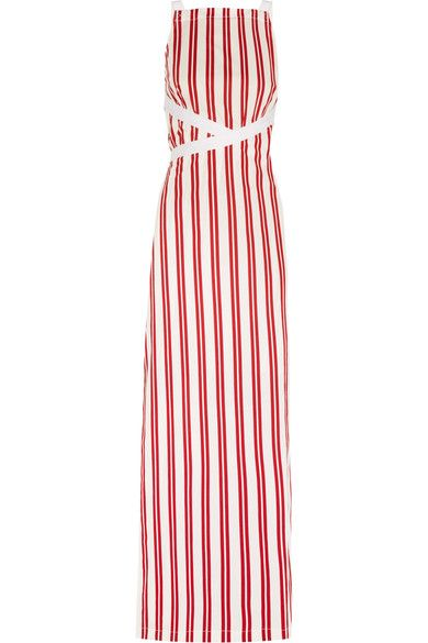 Balenciaga - Canvas-trimmed Striped Cotton Maxi Dress - Red