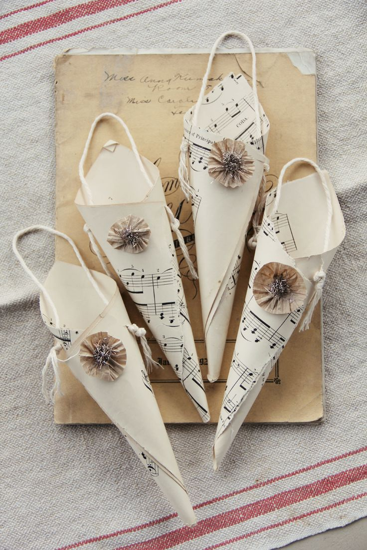 Sheet music christmas ornaments - Sheet Music Cones From Pretty Petals Vintage Christmas Ornamentschristmas